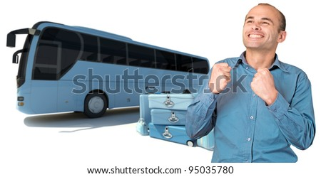 Happy man celebrating coach bus trip - stock photo