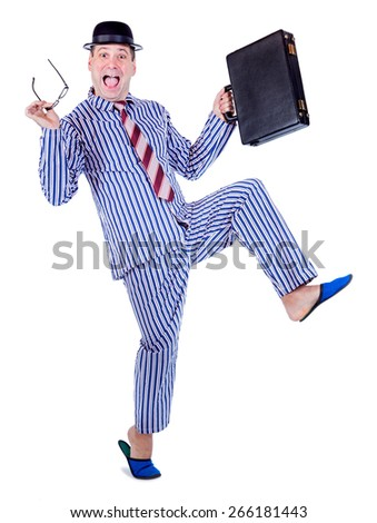 happy man in pajamas with suitcase  - stock photo