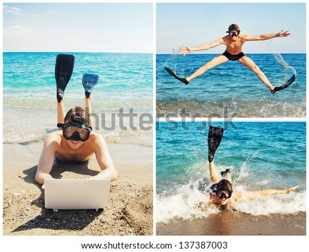 Happy man in underwater mask and flippers at the beach - stock photo
