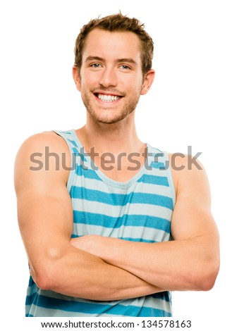 happy man portrait geek guy whiote background - stock photo