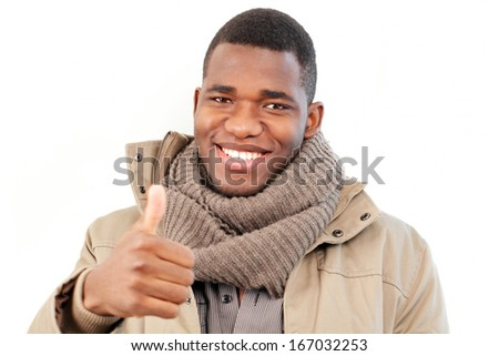 Happy man success gesture, thumbs up - stock photo