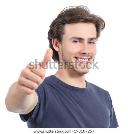 Happy man with a perfect white smile and thumb up isolated on a white background        - stock photo