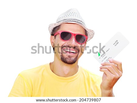 happy man with a ticket in hand - stock photo