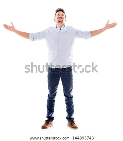 Happy man with arms open - isolated over a white background - stock photo