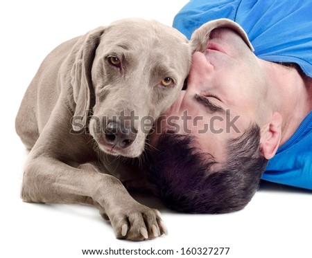 Happy man with  dog isolated on white background - stock photo