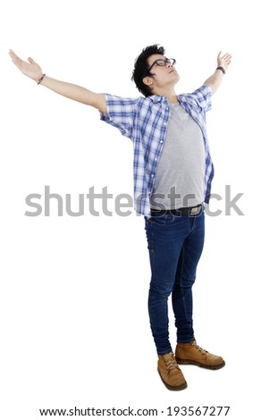 Happy man with hands stretched. isolated on white background - stock photo