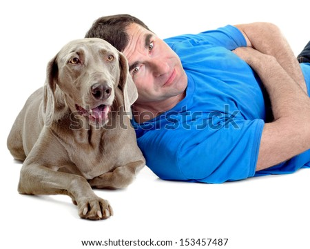 Happy man with his dog isolated on white background - stock photo