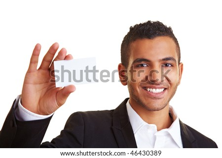 Happy manager holding an empty white business card - stock photo