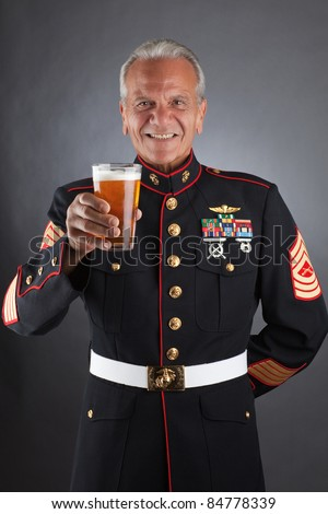 Happy Marine Celebrating - stock photo