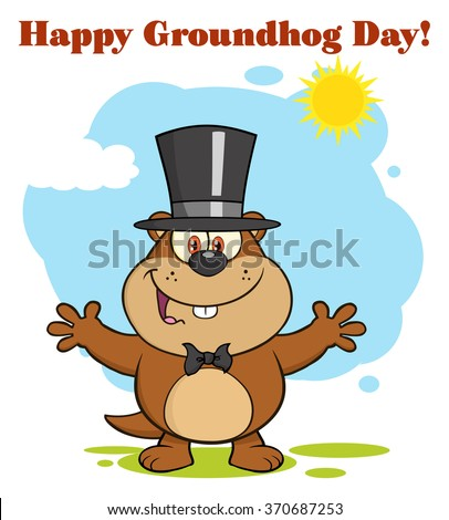 Happy Marmot Cartoon Character With Open Arms In Groundhog Day. Raster Illustration With Background And Text - stock photo