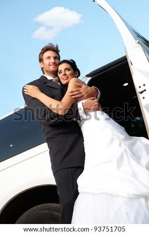 Happy married couple embracing on wedding-day.? - stock photo
