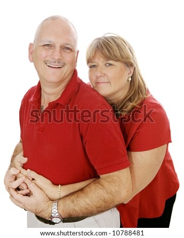 Happy mature couple in love.  Isolated on white. - stock photo