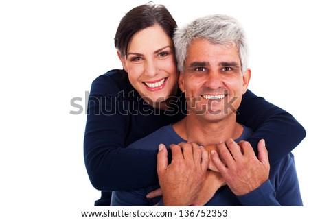 happy mature couple on white background - stock photo