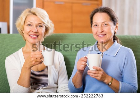 Happy mature ladies with cups of tea at home sitting on the couch. Focus on the woman on the right - stock photo