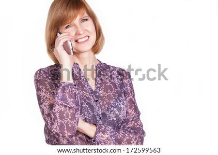 Happy mature lady talking on mobile phone. Isolated on white background. - stock photo