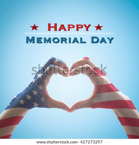 Happy memorial day text message with America flag pattern on people hands in heart shaped form isolated on blue vintage sky background: United states of america USA labor day, US veterans day concept - stock photo
