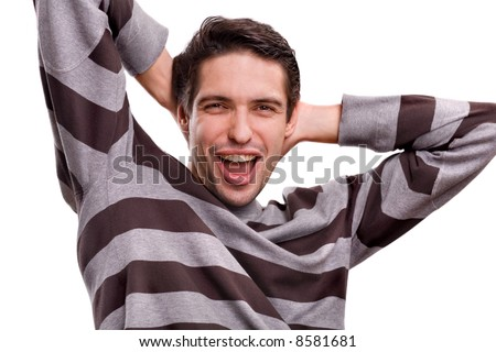 happy men standing - stock photo