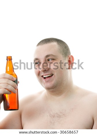 Happy men with a bottle of beer. - stock photo