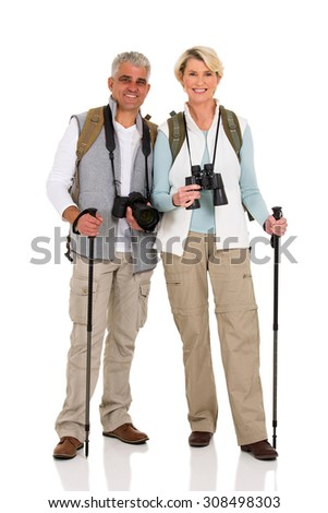 happy middle aged couple hiking isolated on white - stock photo