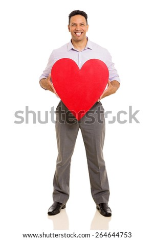 happy middle aged man holding red heart against white background - stock photo