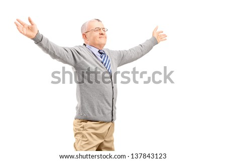 Happy middle aged man spreading arms isolated on white background - stock photo