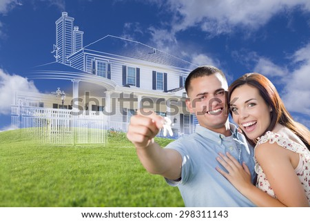 Happy Military Couple Holding House Keys with Ghosted House Drawing, Partial Photo and Rolling Green Hills Behind. - stock photo