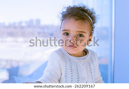 Happy Mixed Race Toddler Girl  - stock photo