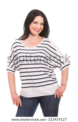 Happy model woman in casual clothes posing isolated on white background - stock photo