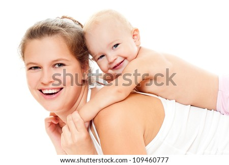 happy mom and baby - stock photo