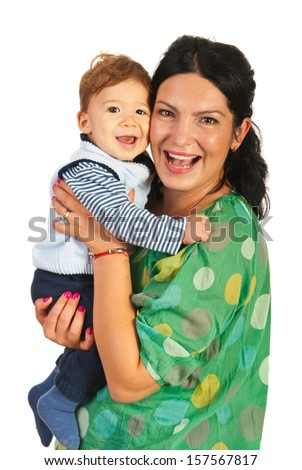 Happy mom and baby boy laughing together isolated on white background - stock photo