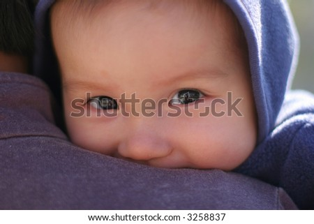 happy 6 months old mixed baby - stock photo