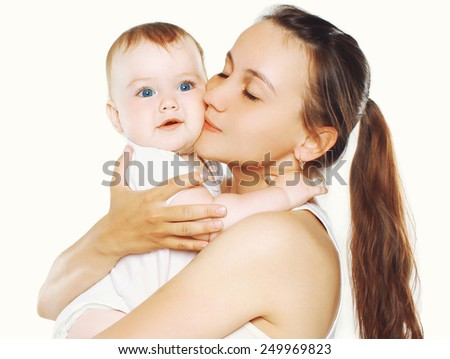 Happy mother and baby together - stock photo