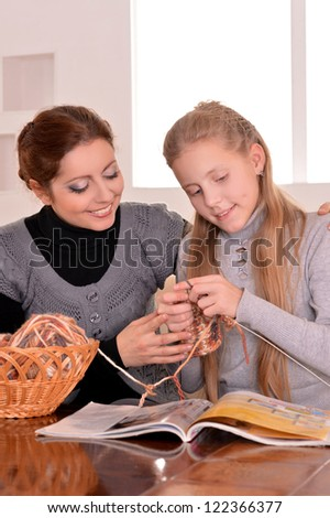 happy mother and daughter in the room - stock photo