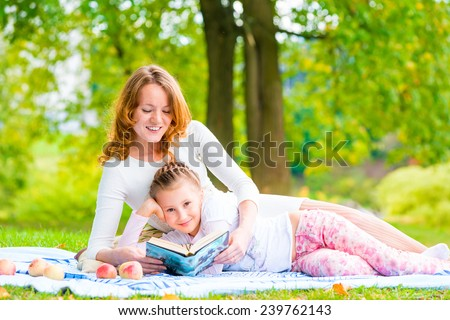 happy mother and daughter spend together weekend - stock photo
