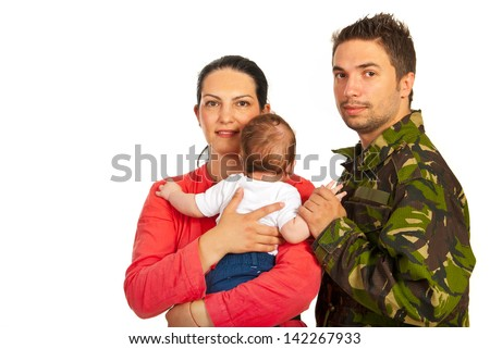 Happy mother,baby and military father isolated on white background - stock photo