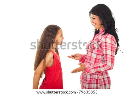 Happy mother having conversation with her daughter and give advices isolated on white background - stock photo