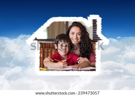 Happy mother helping his son for homework against bright blue sky over clouds - stock photo