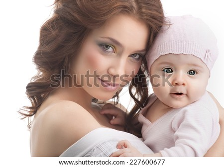 happy mother holding baby studio shot isolate on white - stock photo