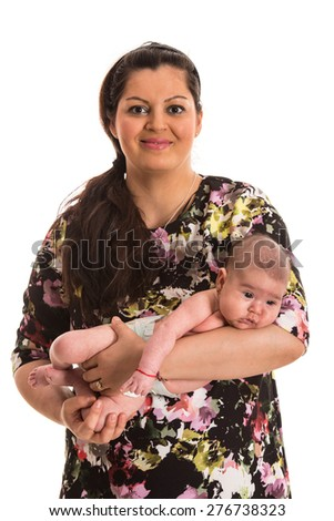 Happy mother holding newborn baby girl isolated on white background - stock photo