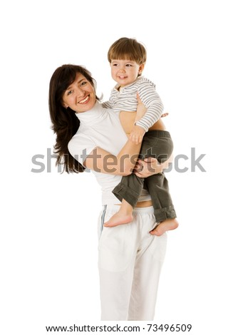 Happy mother holding two years son isolated on white - stock photo