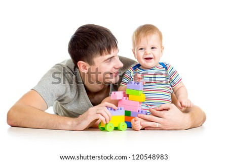 happy mother playing with baby - stock photo