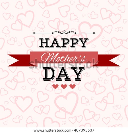 Happy Mother's Day greeting card. Lettering, ribbon, vintage elements on a pink seamless background with hearts. Raster version - stock photo