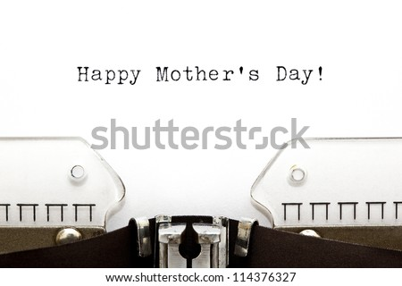 Happy Mother's Day greeting printed on an old typewriter. - stock photo