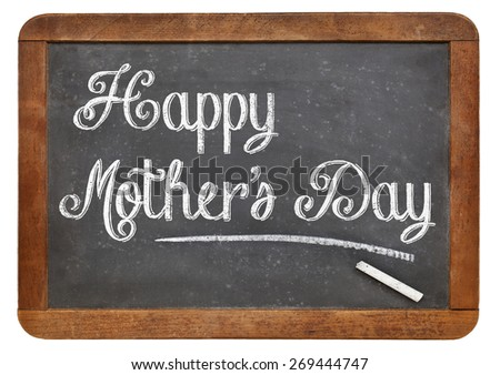 Happy Mother's Day in white chalk on a vintage slate blackboard - stock photo