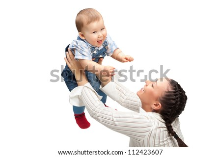 happy mother with baby boy - stock photo