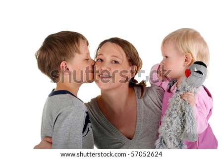 happy mother with her little children - stock photo
