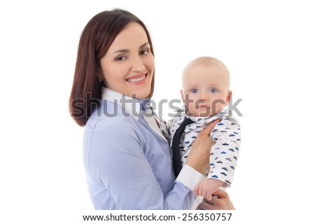 happy mother with her little son isolated on white background - stock photo