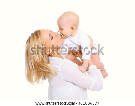 Happy mother with little baby on a white background - stock photo