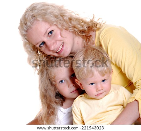 Happy mother with two children - stock photo
