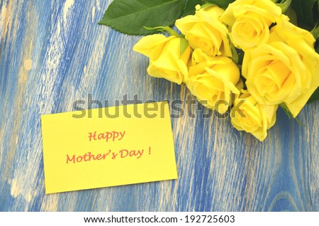happy mothers day and bouquet of gorgeous yellow roses - stock photo